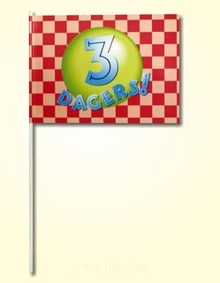 Hand flag 20x30cm, includes four color print, with wooden stick